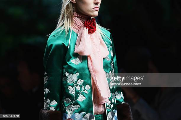A model walks the runway fashion detail during the Gucci fashion show as part of Milan Fashion Week Spring/Summer 2016 on September 23 2015 in Milan...