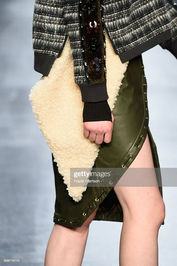 A model walks the runway, fashion detail, wearing Concept Korea Fall 2016 during New York Fashion Week: The Shows at The Dock, Skylight at Moynihan Station on February 12, 2016 in New York City.