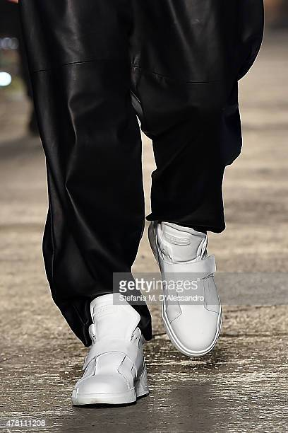 A model walks the runway footwear detail during the Marcelo Burlon County of Milan fashion show as part of Milan Men's Fashion Week Spring/Summer...