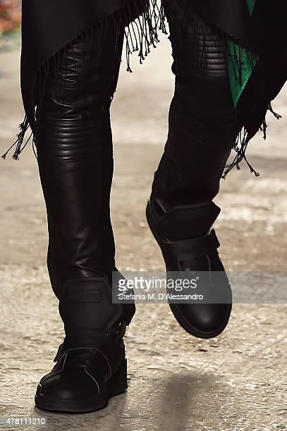 A model walks the runway footwear detail during the Marcelo Burlon County of Milan fashion show as part of Milan Men's Fashion Week Spring/Summer...