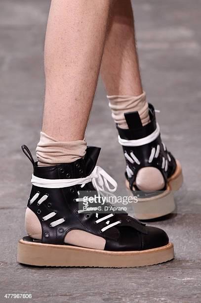 A model walks the runway footwear detail during the N21 fashion show as part of Milan Men's Fashion Week Spring/Summer 2016 on June 21 2015 in Milan...