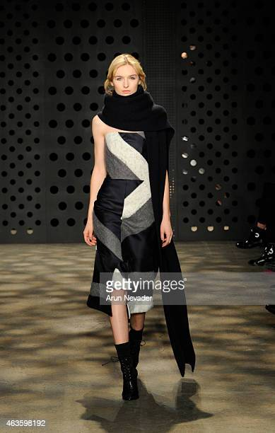 Model walks the runway for Adeam at Highline Stages on February 16 2015 in New York City