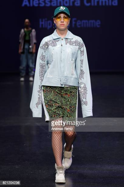 A model walks the runway for Alessandra Cirmia's show 'Hip Hop Femme' at the AMD Exit17_2 show during Platform Fashion July 2017 at Areal Boehler on...