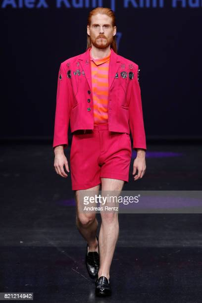 A model walks the runway for Alex Kuhl and Kim Huber's show '7' at the AMD Exit17_2 show during Platform Fashion July 2017 at Areal Boehler on July...