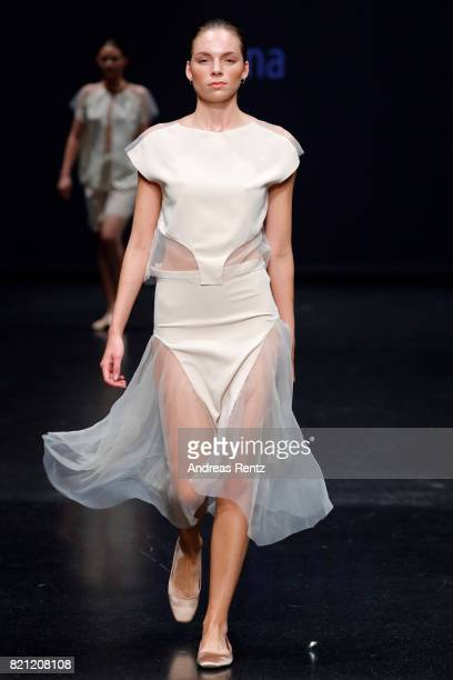 A model walks the runway for Alina Bosse's show 'Pina' at the AMD Exit17_2 show during Platform Fashion July 2017 at Areal Boehler on July 23 2017 in...