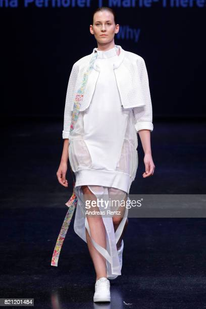A model walks the runway for Alina Perhoefer and MarieTherese Thiers's show 'WHY' at the AMD Exit17_2 show during Platform Fashion July 2017 at Areal...