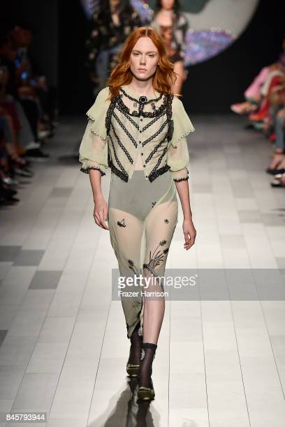 A model walks the runway for Anna Sui fashion show during New York Fashion Week The Shows at Gallery 1 Skylight Clarkson Sq on September 11 2017 in...