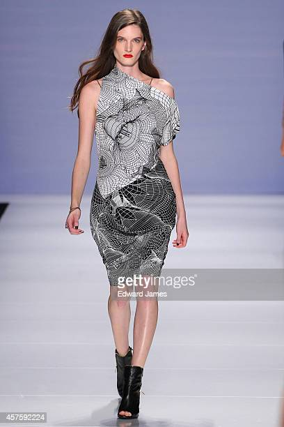 A model walks the runway for BlakI at the MercedesBenz Startup Spring/Summer 2015 fashion show during World Mastercard Fashion Week at David Pecaut...