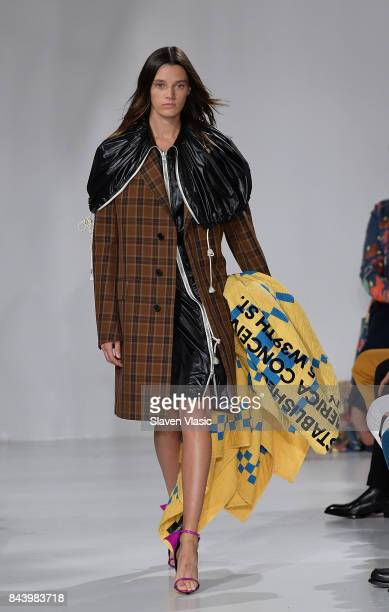 A model walks the runway for Calvin Klein Collection fashion show during New York Fashion Week on September 7 2017 in New York City