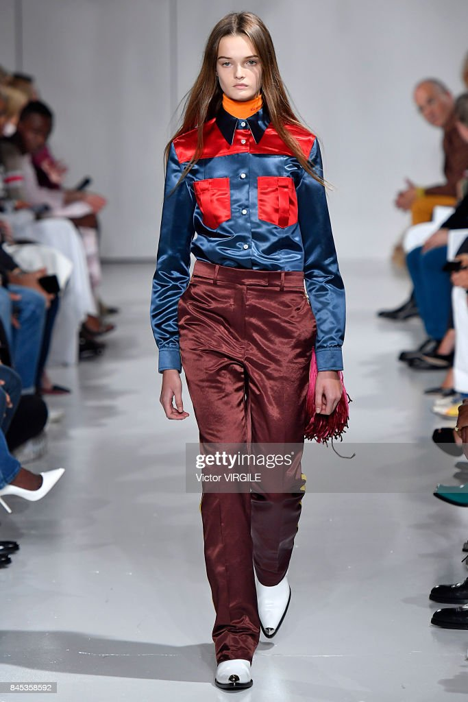 A model walks the runway for Calvin Klein Collection Spring/Summer 2018 fashion show during New York Fashion Week on September 7, 2017 in New York City.
