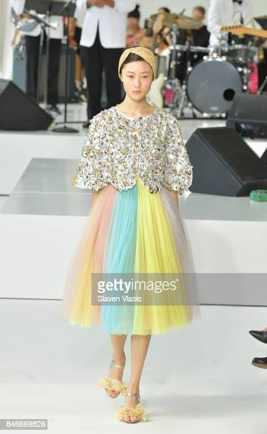 A model walks the runway for Delpozo fashion show during New York Fashion Week at Pier 59 Studios on September 13 2017 in New York City