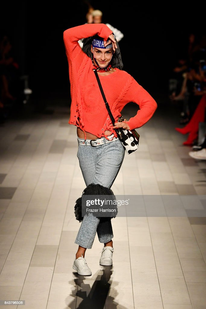 model-walks-the-runway-for-desigual-fashion-show-during-new-york-picture-id843796306