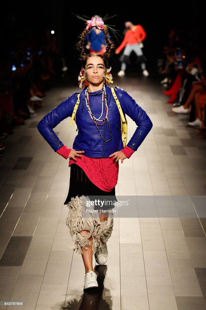 model-walks-the-runway-for-desigual-fashion-show-during-new-york-picture-id843797956