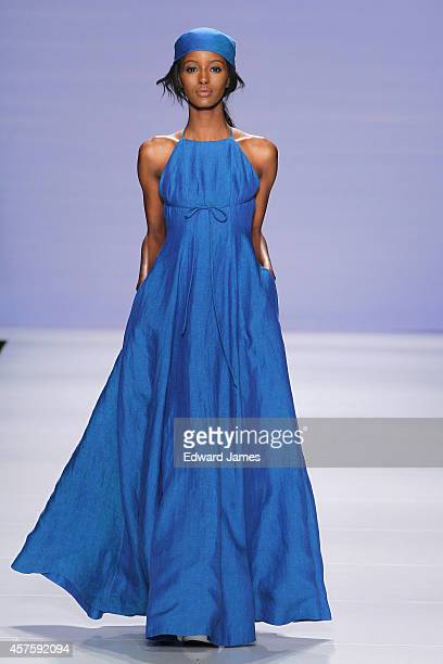 A model walks the runway for Eliza Faulkner at the MercedesBenz Startup Spring/Summer 2015 fashion show during World Mastercard Fashion Week at David...