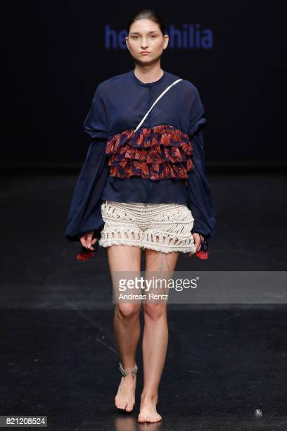A model walks the runway for Gina Hermann's show 'heliophilia' at the AMD Exit17_2 show during Platform Fashion July 2017 at Areal Boehler on July 23...