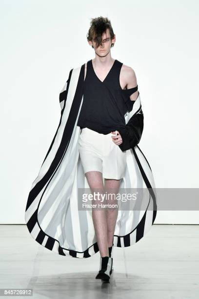 A model walks the runway for Hakan Akkaya fashion show during New York Fashion Week The Shows at Gallery 2 Skylight Clarkson Sq on September 11 2017...