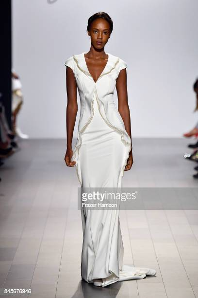 A model walks the runway for John Paul Ataker fashion show during New York Fashion Week The Shows at Gallery 1 Skylight Clarkson Sq on September 11...