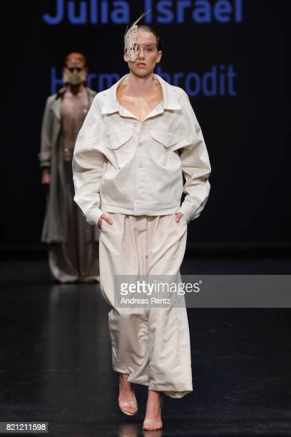 A model walks the runway for Julia Israel's show 'Hermaphrodit' at the AMD Exit17_2 show during Platform Fashion July 2017 at Areal Boehler on July...