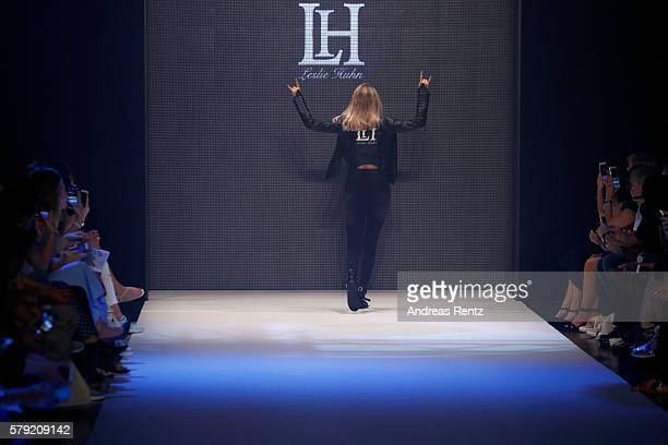 A model walks the runway for Leslie Huhn as part of the Fashionyard show during Platform Fashion July 2016 at Areal Boehler on July 23 2016 in...
