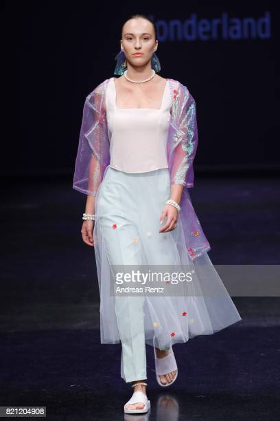 A model walks the runway for Marvin Singh's show 'Wonderland' at the AMD Exit17_2 show during Platform Fashion July 2017 at Areal Boehler on July 23...
