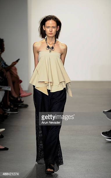 Model walks the runway for Methodology during the Fashion Guerilla group show on September 15 2016 in New York City