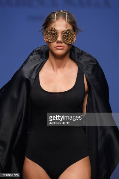A model walks the runway for 'Sarina Saga' at the 3D Fashion Presented By Lexus/Voxelworld show during Platform Fashion July 2017 at Areal Boehler on...