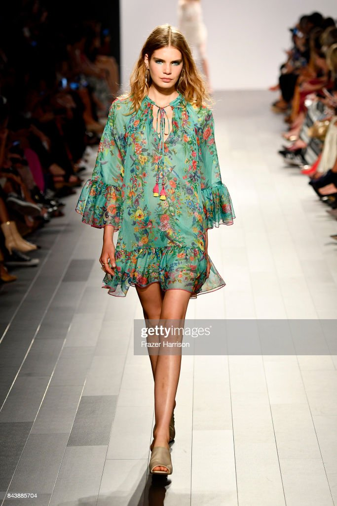 model-walks-the-runway-for-tadashi-shoji-fashion-show-during-new-york-picture-id843885704