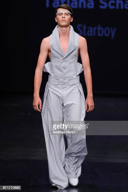 A model walks the runway for Tatjana Schaefer's show 'Starboy' at the AMD Exit17_2 show during Platform Fashion July 2017 at Areal Boehler on July 23...