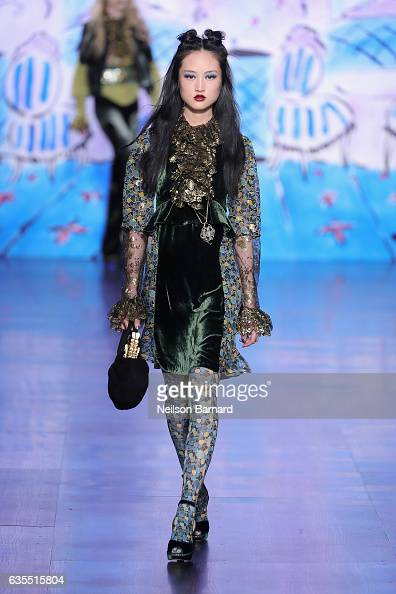 A model walks the runway for the Anna Sui collection during New York Fashion Week The Shows at Gallery 1 Skylight Clarkson Sq on February 15 2017 in...