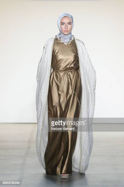 A model walks the runway for the Anniesa Hasibuan collection during New York Fashion Week The Shows at Gallery 2 Skylight Clarkson Sq on February 14...