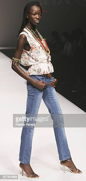 A model walks the runway for the Arx collection presentation part of the New Generation 1 at the Overseas Passenger Terminal during the Mercedes...