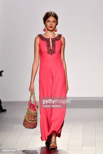 A model walks the runway for the Badgley Mischka fashion show during September 2017 New York Fashion Week The Shows at Gallery 1 Skylight Clarkson Sq...