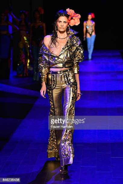 A model walks the runway for The Blonds fashion show during New York Fashion Week The Shows at Gallery 1 Skylight Clarkson Sq on September 12 2017 in...