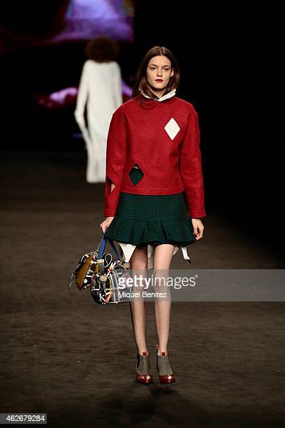 A model walks the runway for the Brain Best collection at the '080 Barcelona Fashion Week 2015 Fall/Winter' at the Museu Maritim of Barcelona on...
