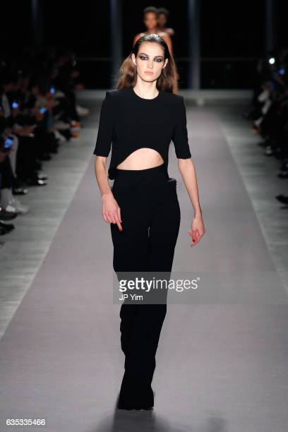 A model walks the runway for the Brandon Maxwell collection during New York Fashion Week The Shows on February 14 2017 in New York City