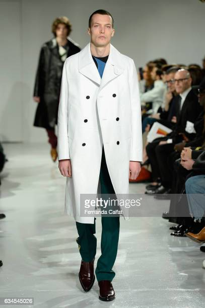 A model walks the runway for the Calvin Klein Collection Fashion Show during New York Fashion Week on February 10 2017 in New York City