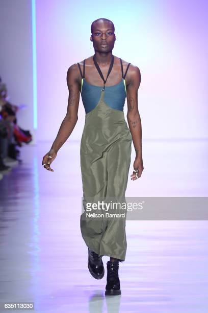 A model walks the runway for the Chromat collection during New York Fashion Week The Shows at Gallery 3 Skylight Clarkson Sq on February 10 2017 in...
