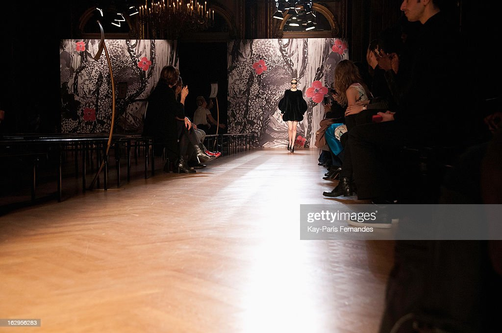 A model walks the runway for the dress rehearsal of the Tsumori Chisato Fall/Winter 2013 Ready-to-Wear show as part of Paris Fashion Week at The Hotel Westin on March 2, 2013 in Paris, France.