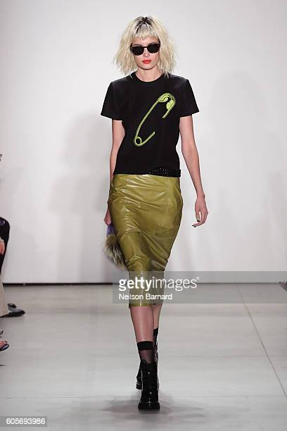 A model walks the runway for the Georgine fashion show during New York Fashion Week September 2016 at The Gallery Skylight at Clarkson Sq on...