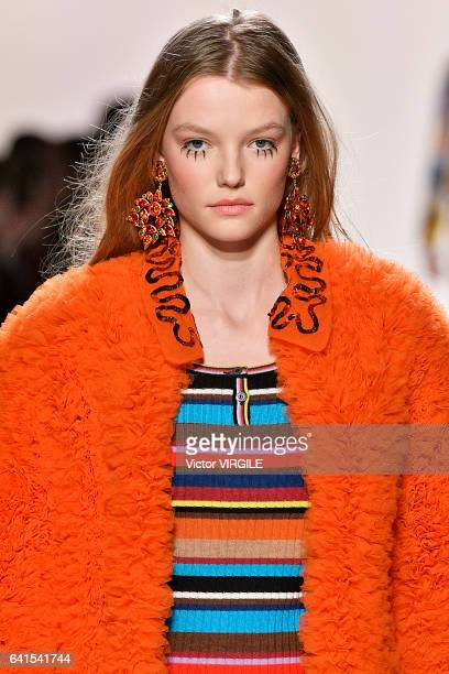 A model walks the runway for the Jeremy Scott fashion show during New York Fashion Week Fall Winter 20172018 on February 10 2017 in New York City