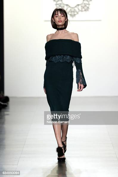 A model walks the runway for the Lanyu collection during New York Fashion Week The Shows at Gallery 1 Skylight Clarkson Sq on February 10 2017 in New...