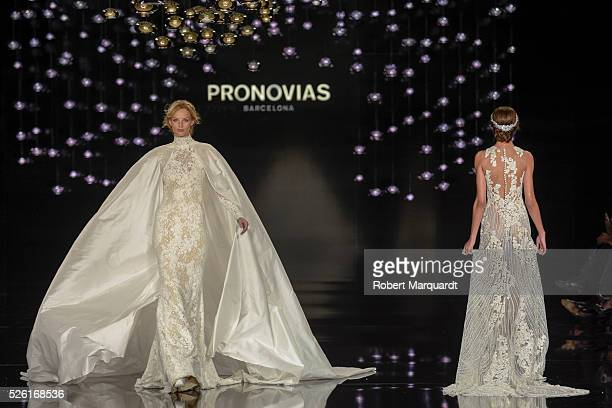 A model walks the runway for the latest collection by Pronovias 2017 on April 29 2016 in Barcelona Spain