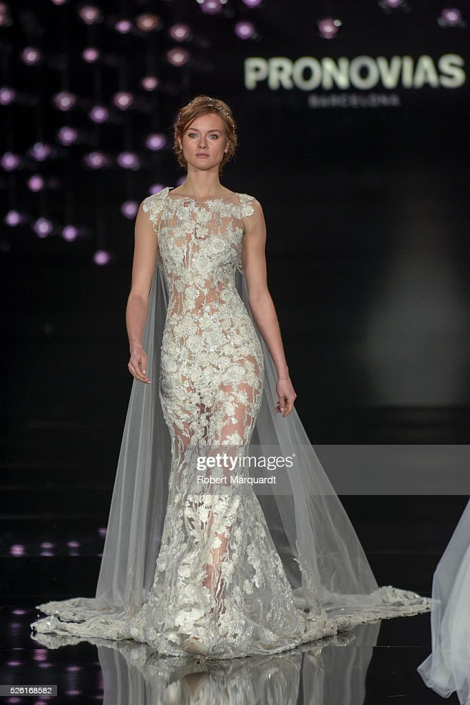 A model walks the runway for the latest collection by Pronovias 2017 on April 29, 2016 in Barcelona, Spain.