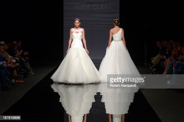 A model walks the runway for the latest Rosa Clara bridal collection at Barcelona Bridal Week 2013 on April 30 2013 in Barcelona Spain