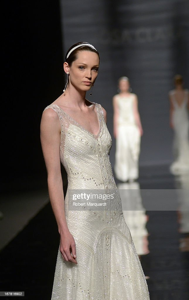 A model walks the runway for the latest Rosa Clara bridal collection at Barcelona Bridal Week 2013 on April 30, 2013 in Barcelona, Spain.