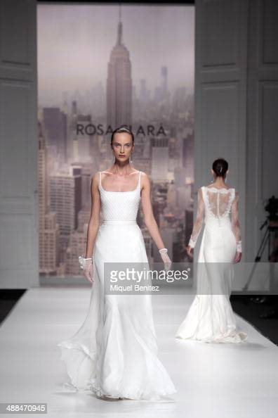 A model walks the runway for the latest Rosa Clara bridal collection at the Barcelona Bridal Week 2014 on May 6 2014 in Barcelona Spain