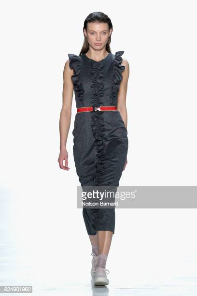 A model walks the runway for the Marcel Ostertag collection during New York Fashion Week The Shows at Gallery 3 Skylight Clarkson Sq on February 12...