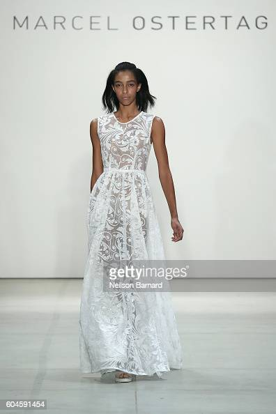 A model walks the runway for the Marcel Ostertag fashion show during New York Fashion Week September 2016 at The Gallery Skylight at Clarkson Sq on...