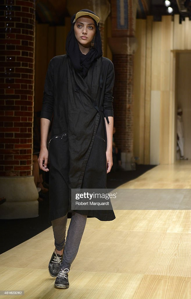 A model walks the runway for the 'Miriam Ponsa' summer 2015 collection at the 080 Barcelona Fashion Week on July 2, 2014 in Barcelona, Spain.