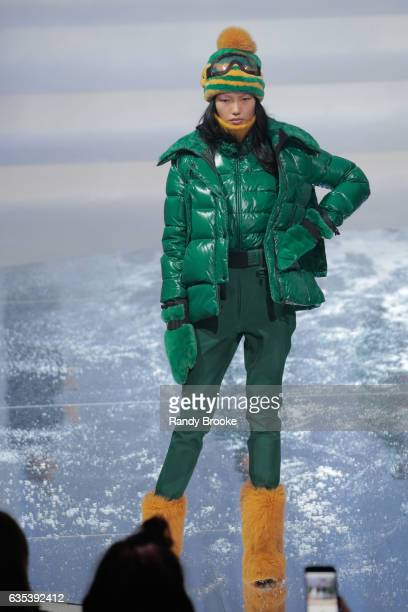 A model walks the runway for the Moncler Grenoble collection during New York Fashion Week at Hammerstein Ballroom on February 14 2017 in New York City